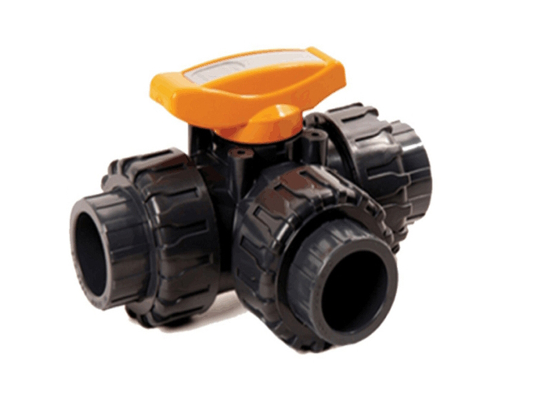 PVC 3 Way Ball Valve Orange Handle
