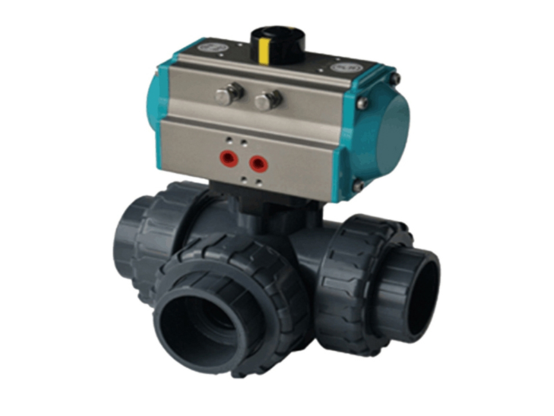 PVC 3 Way Ball Valve With Pneumatic Actuator